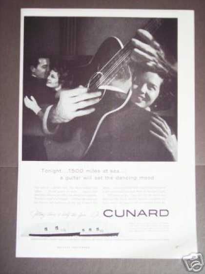 Cunard Cruise Ship Double Exposure Guitar Photo (1956)