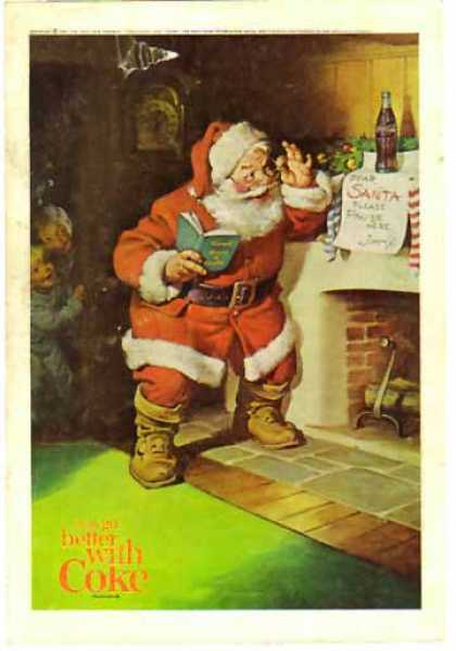 Coke Christmas &#8211; Santa by fireplace (1963)