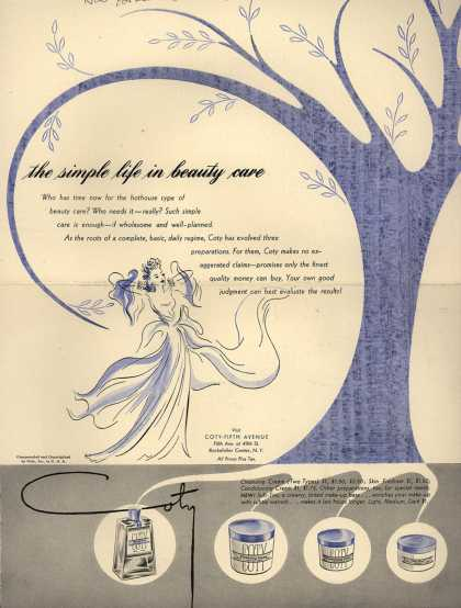 Coty's Cleansing Cream, Skin Freshner, Conditioning Cream – The simple life in beauty care (1942)