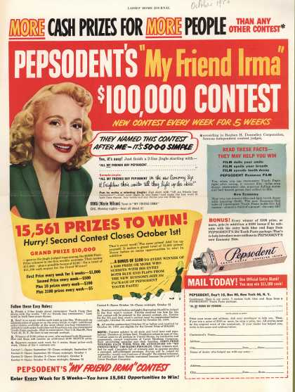 "Lever Brothers Company's tooth paste – Pepsodent's ""My Friend Irma"" $100,000 Contest (1950)"