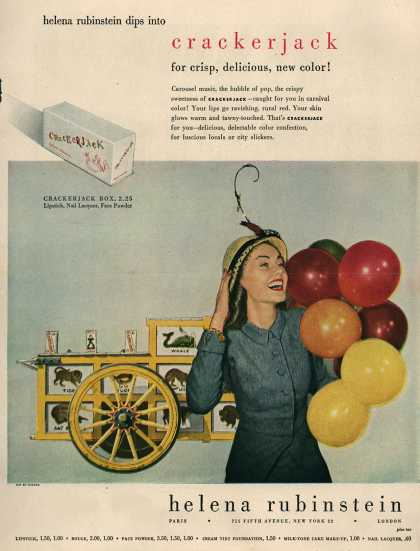 Helena Rubinstein's Crackerjack make-up – Helena Rubinstein dips into crackerjack for crisp, delicious new color (1947)