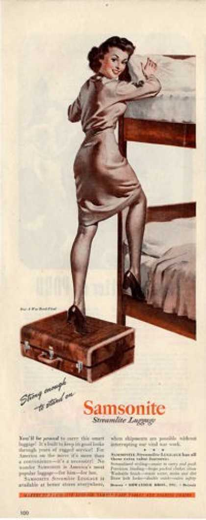 Samsonite Luggage Military Woman Wwii Soldier Ad T (1945)