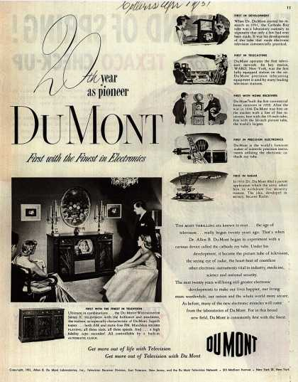 Allen B. DuMont Laboratorie's corporate ad – 20th year as pioneer DuMont (1951)