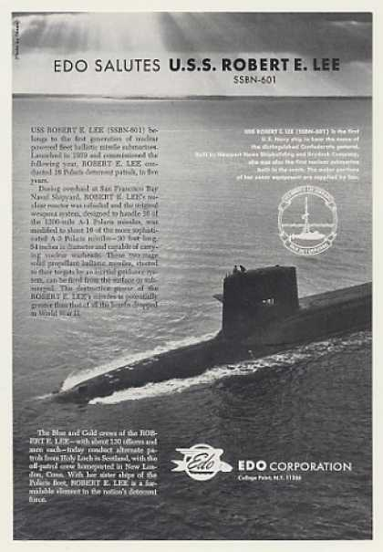 EDO Salutes USS Robert E Lee SSBN-601 Sub Photo (1968)