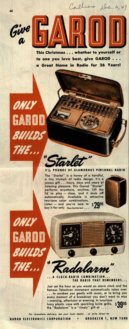 Garod Electronics Corporation's Radio – Give a Garod this Christmas... (1947)