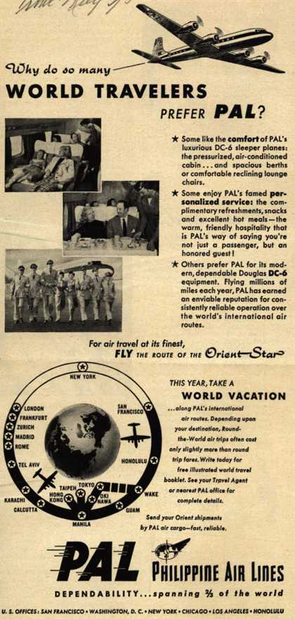 Philippine Air Line's Around the World Vacation – Why do so many World Travelers Prefer PAL? (1952)