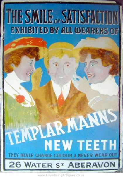 Templar False Teeth Enamel Sign