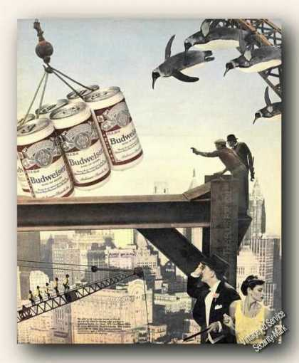 Unusual Budweiser Construction Flying Penguins (1983)