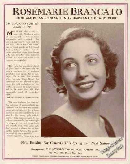 Rosemarie Brancato Soprano Chicago Debut Trade (1934)