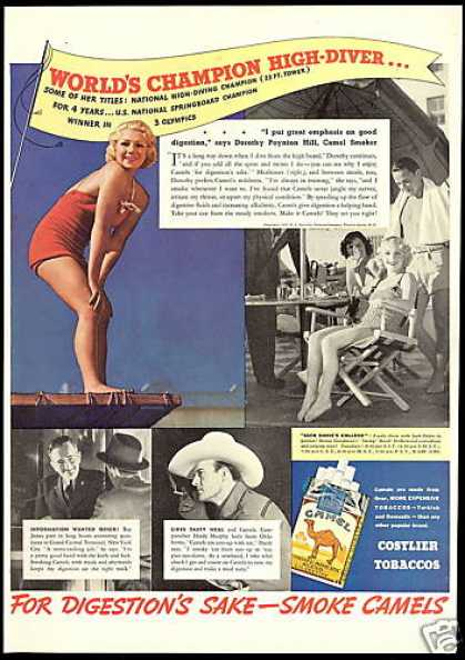 Olympic Diving Champion Hill Camel Cigarette (1937)