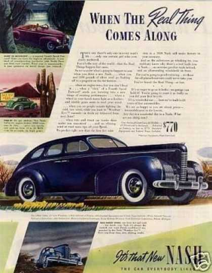 "Nash 4-door Sedan Color Ad ""When the Real Thing... (1939)"