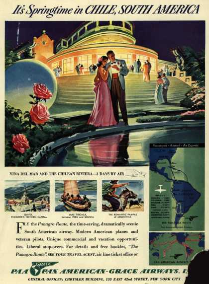Pan American Grace Airway's Chile – It's Springtime in Chile, South America (1940)