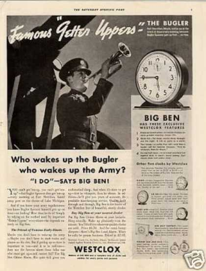 "Westclox Big Ben Alarm Clock Ad ""The Bugler.. (1936)"