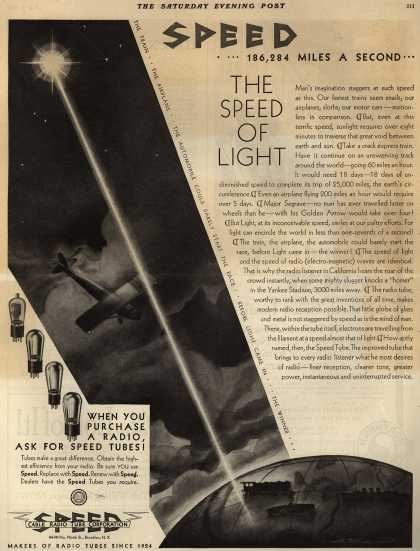 Cable Radio Tube Corporation's Radio Tubes – Speed... 186,284 Miles A Second... The Speed of Light (1929)