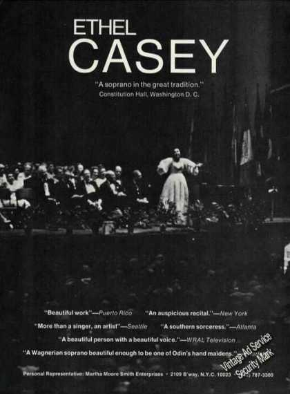 Ethel Casey Photo Soprano Recital Rare Trade (1971)