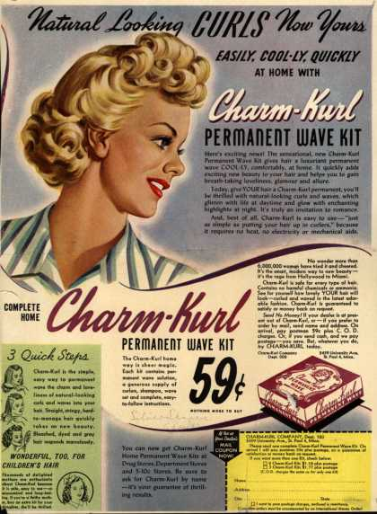 Charm-Kurl Company's Charm-Kurl Permanent Wave Kit – Natural Looking Curls Now Yours Easily, Cool-ly, Quickly At Home With Charm-Kurl Permanent Wave Kit (1944)