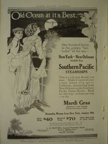 Southern Pacific Steamships Mardi Gras AND Southern Railway Panama (1913)