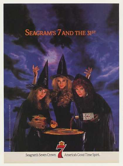 Seagram's 7 Crown Whiskey Witches Halloween (1989)