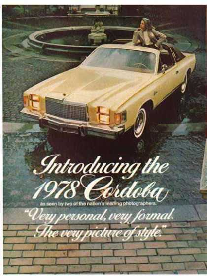 Chrysler Car – Cordoba / Tan with T Bar Roof – Sold (1978)