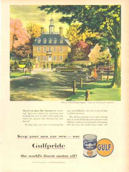 Gulf Pride Motor Oil – Historic Williamsburg, Virginia (1949)