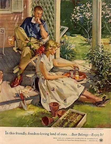 "Beer Belongs Ad ""Time Out In Planting"" Gannam Art (1954)"