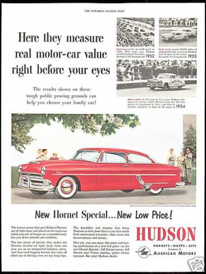 Red Hudson Hornet Car Photo Race Track Vintage (1954)