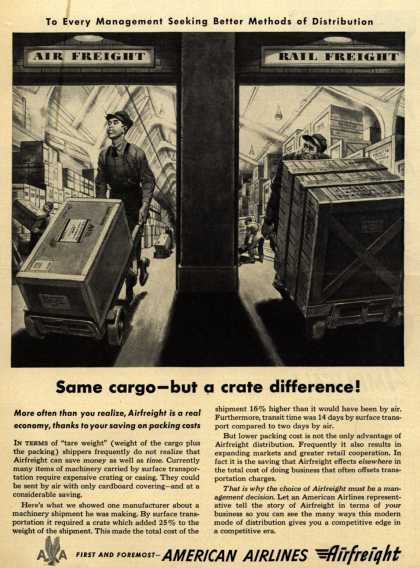American Airline's Airfreight – Same cargo-but a crate difference (1950)