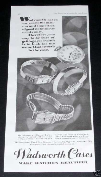 Wadsworth Beautiful Watch Cases (1929)