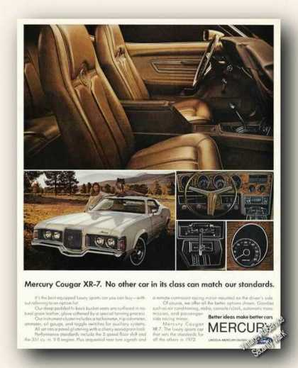 Mercury Cougar Xr-7 Ad Large Interior Photo (1972)