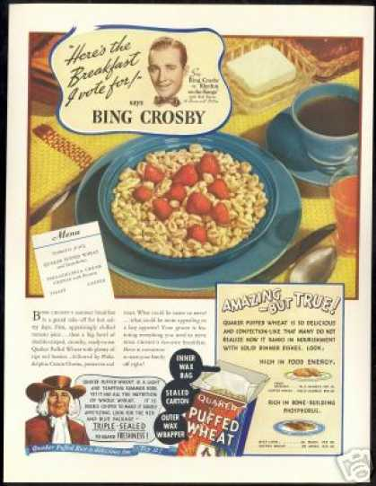 Bing Crosby Photo Quaker Puffed Cereal Vintage (1936)