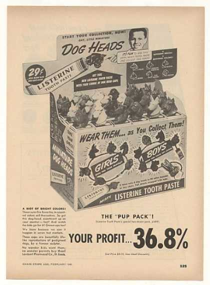 Listerine Tooth Paste Dog Heads (1949)