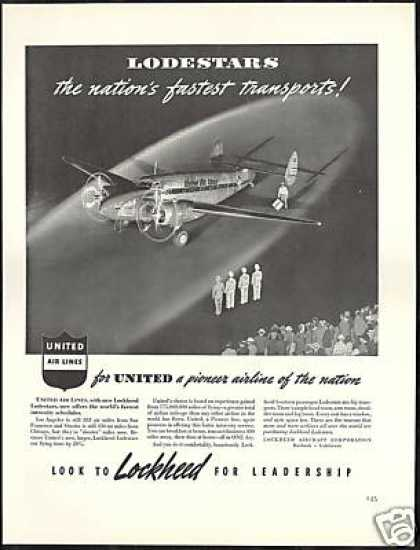 United Airlines Lodestar Airplane Lockheed (1940)
