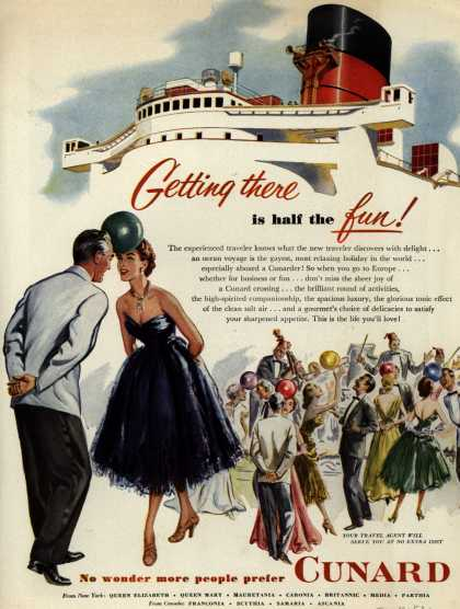 Cunard White Star Line's atmosphere, activities, food – Getting there is half the fun (1952)