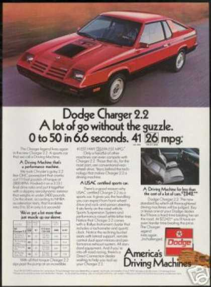 Red Vintage Dodge Charger 2.2 Photo (1982)
