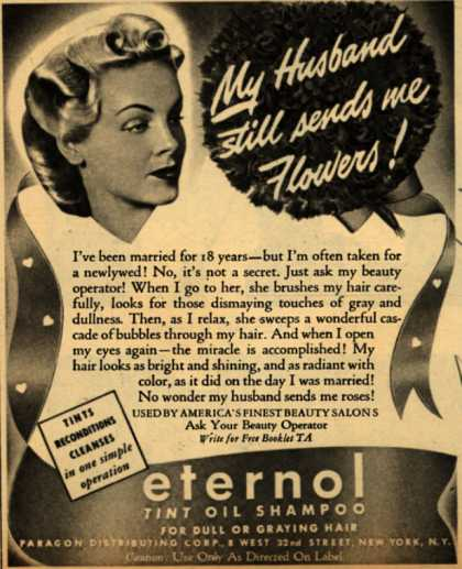 Paragon Distributing Corporation's Eternol Tint Oil Shampoo – My Husband still sends me Flowers (1942)