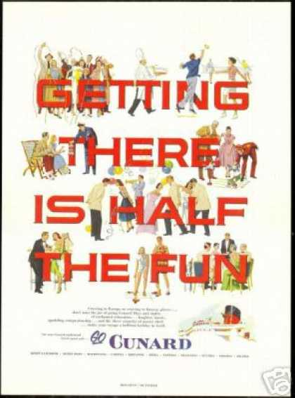 Cunard Cruise Line Ship Fun Art Vintage (1953)