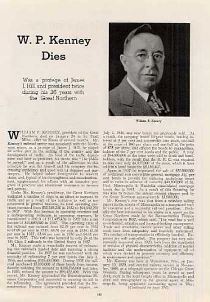 """W.p. Kenney Dies"" Article/great Northern (1939)"
