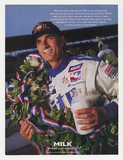 Indy 500 Win Arie Luyendyk Milk Mustache Photo (1997)