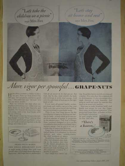 Grape Nuts Cereal More vigor per spoonful (1930)