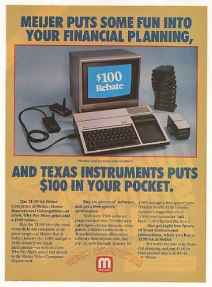 '82 Texas Instruments TI 99/4A Computer Meijer Store (1982)