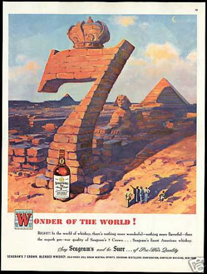 Seagram's 7 Crown Whiskey Sphinx Pyramid Art (1948)