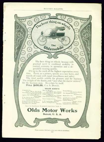 Very Rare Art Nouveau Oldsmobile Motor Car (1902)