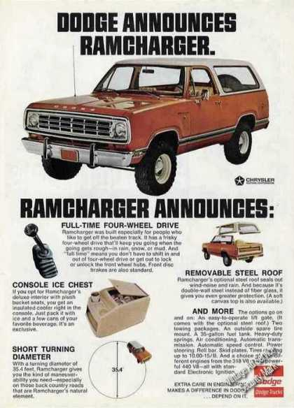 Dodge Announces Ramcharger Nice Truck (1974)