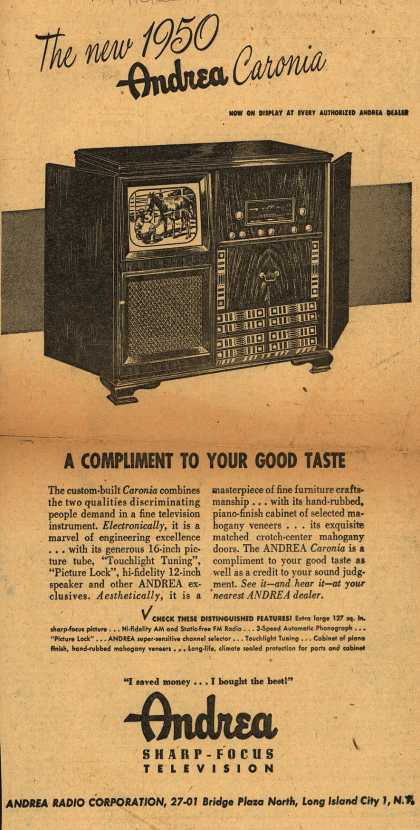 Andrea Radio Corporation's The Andrea Caronia Television – The New 1950 Andrea Caronia. A Compliment to Your Good Taste (1949)