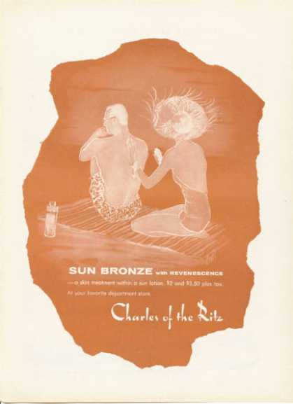 Charles of the Ritz Sun Bronze Sun Lotion Art (1955)