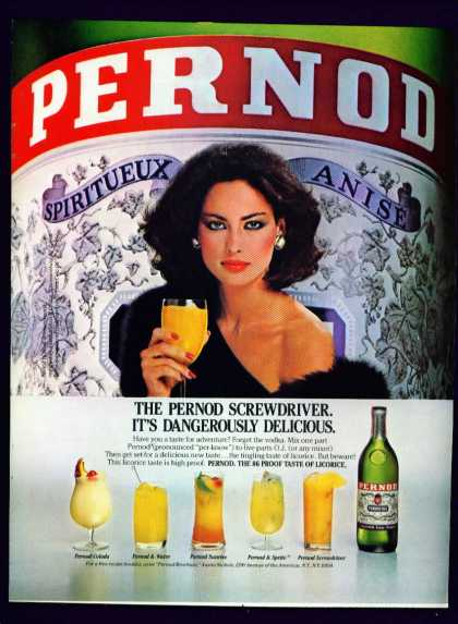 Alluring Woman In Pernod Spiritueux Anise C (1982)