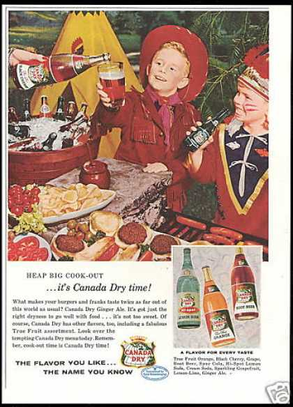 Cowboy Indian Teepee Canada Dry Ginger Ale Soda (1956)