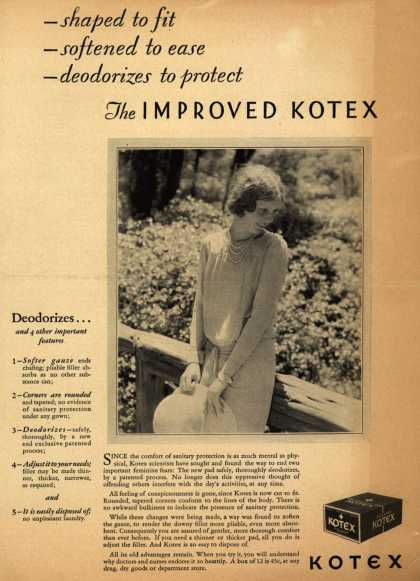 Kotex Company's Sanitary Napkins – - shaped to fit, – softened to ease, – deodorizes to protect, The Improved Kotex (1928)