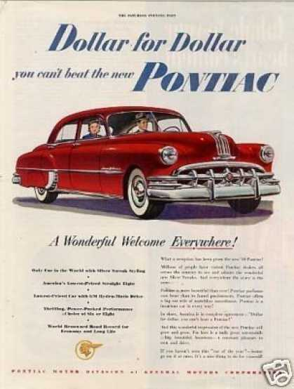 "Pontiac Car Ad ""A Wonderful Welcome... (1950)"