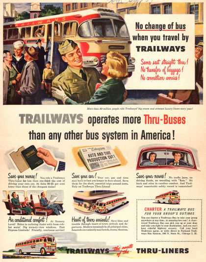 National Trailways Bus System's Thru-Buses – Trailways operates more Thru-Buses than any other bus system in America (1951)